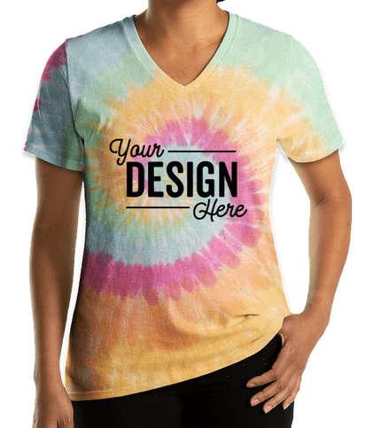 Port & Company Women's Tie-Dye V-Neck T-shirt - Pastel Rainbow