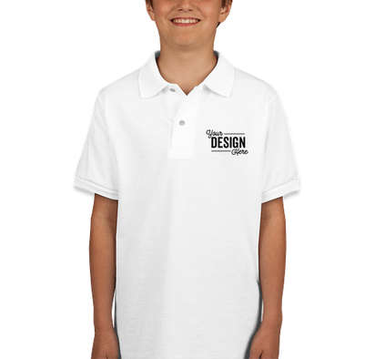 Jerzees Youth Spotshield 50/50 Jersey Polo - White
