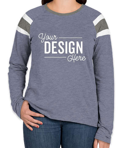Augusta Women's Fanatic Long Sleeve T-shirt - Royal / Slate / White