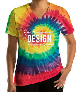 Port & Company Women's Tie-Dye V-Neck T-shirt