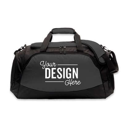 Port Authority Medium Active Duffel Bag - Screen Printed - Dark Charcoal / Black