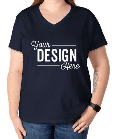 Gildan Women's 100% Cotton V-Neck T-shirt - Navy