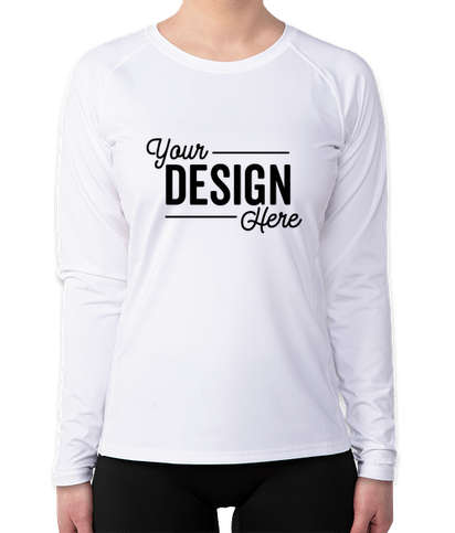 Sport-Tek Women's Long Sleeve Rash Guard Shirt - White