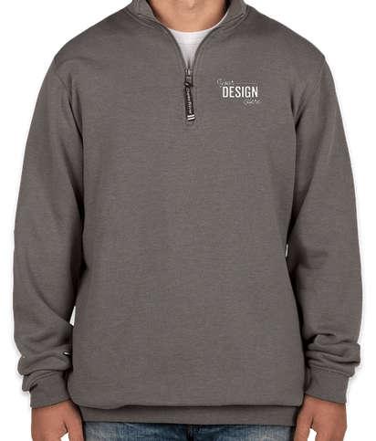 Charles River Crosswind Quarter Zip Sweatshirt - Embroidered - Dark Charcoal Heather