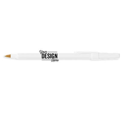 BIC Round Stic Pen (black ink) - White / White