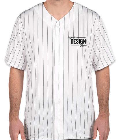 Augusta Pinstripe Full Button Baseball Jersey - White / Black