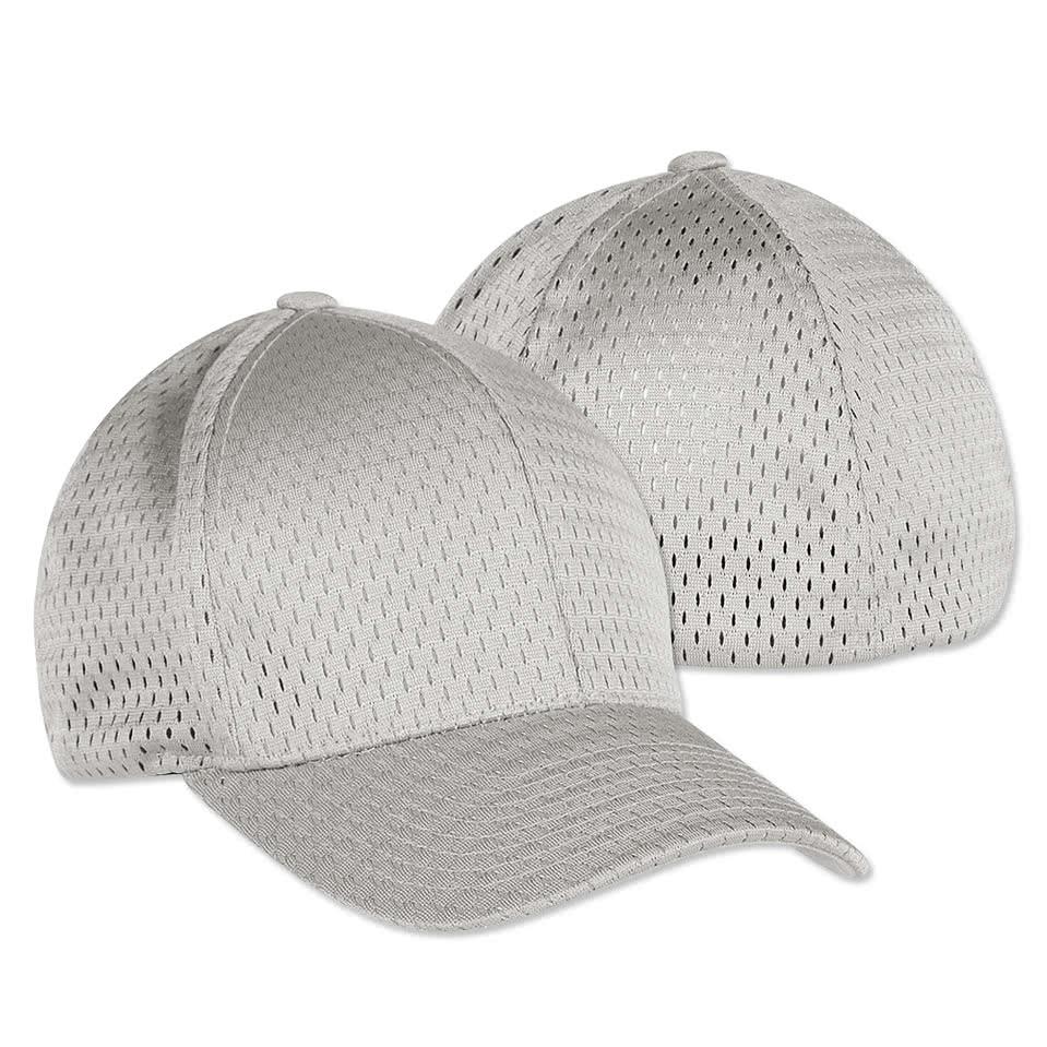 design custom printed yupoong athletic mesh flexfit caps online at