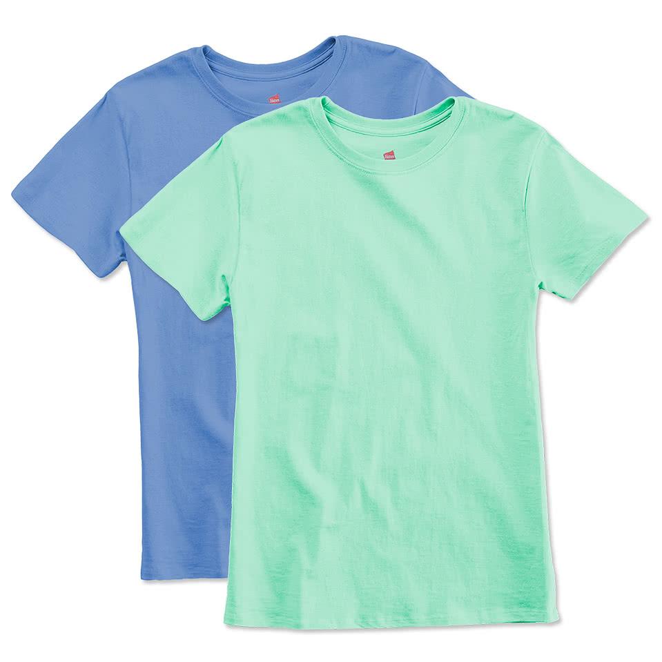 Design custom printed hanes her way ladies t shirts online for Ladies custom t shirts