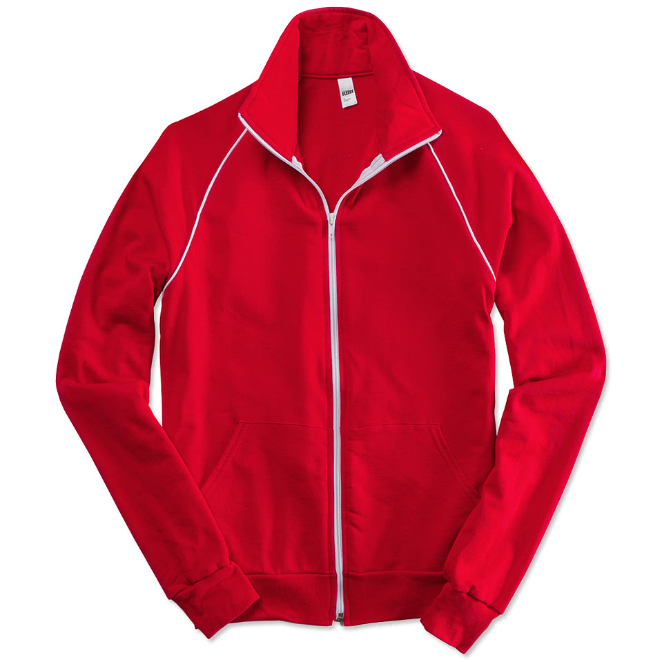 American Apparel Fleece Track Jacket with White Piping