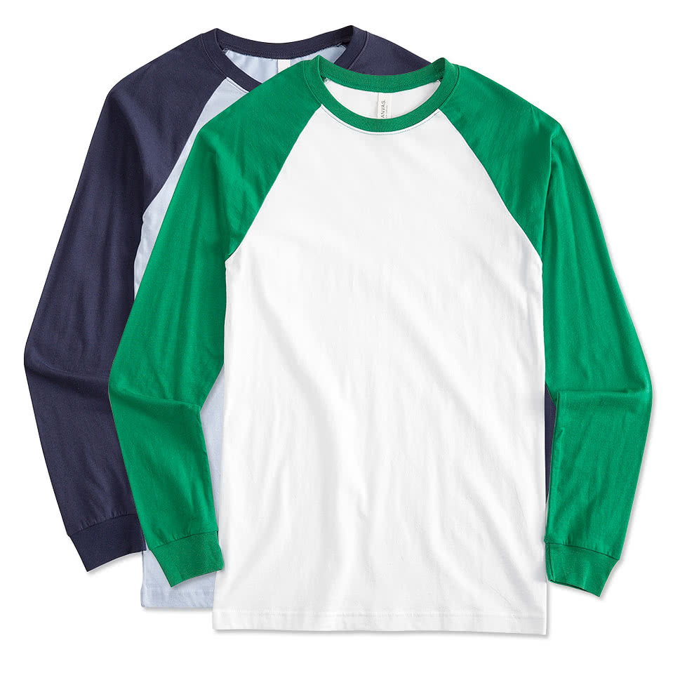 Design custom printed canvas long sleeve raglan shirts for Custom logo t shirts no minimum