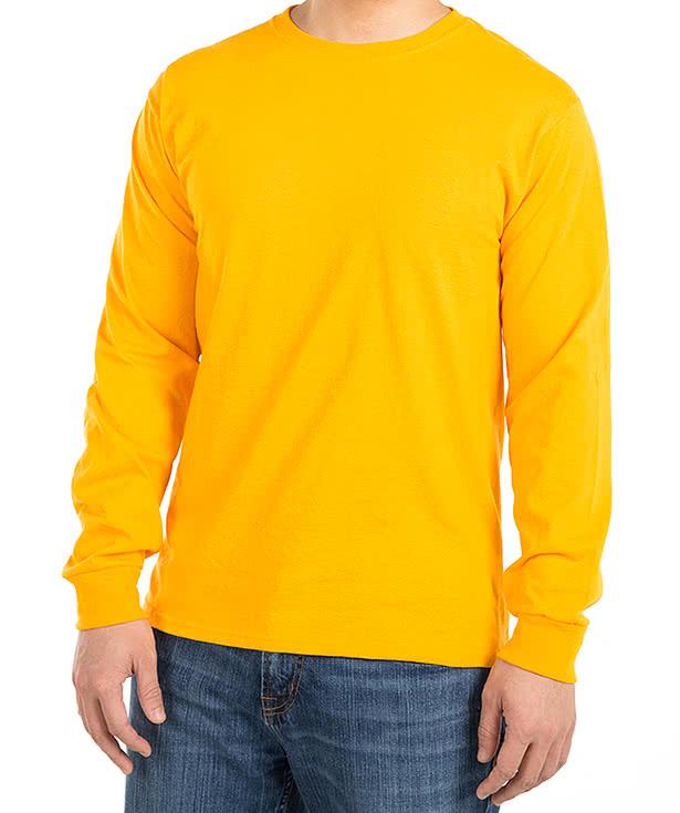 Long sleeve yellow t shirt artee shirt for Yellow long sleeved t shirt