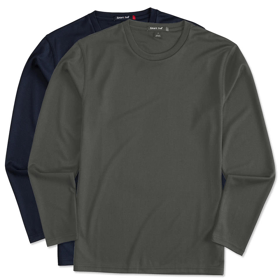 Design your own t-shirt long sleeve - Sport Tek Dri Mesh Long Sleeve Performance Shirt