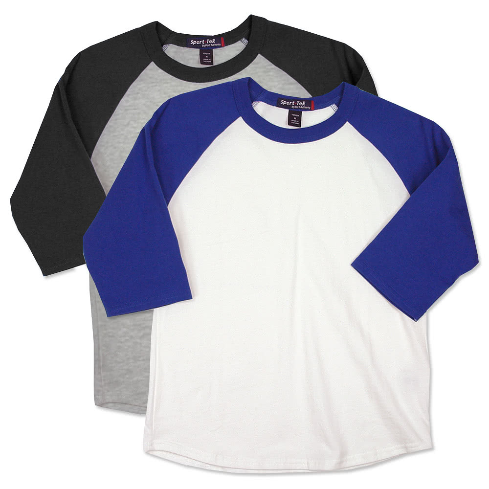Sport tek youth baseball raglan design custom kids for Custom raglan baseball shirt
