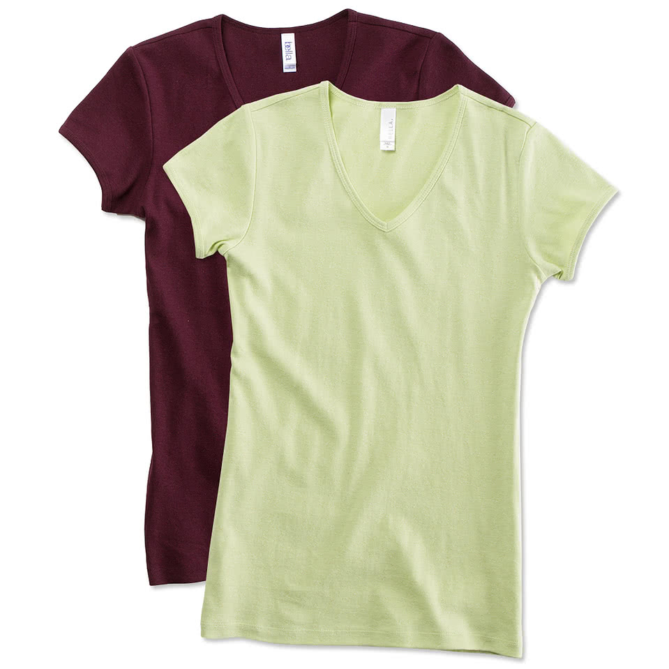 Custom bella juniors v neck t shirt design juniors short for T shirt design v neck