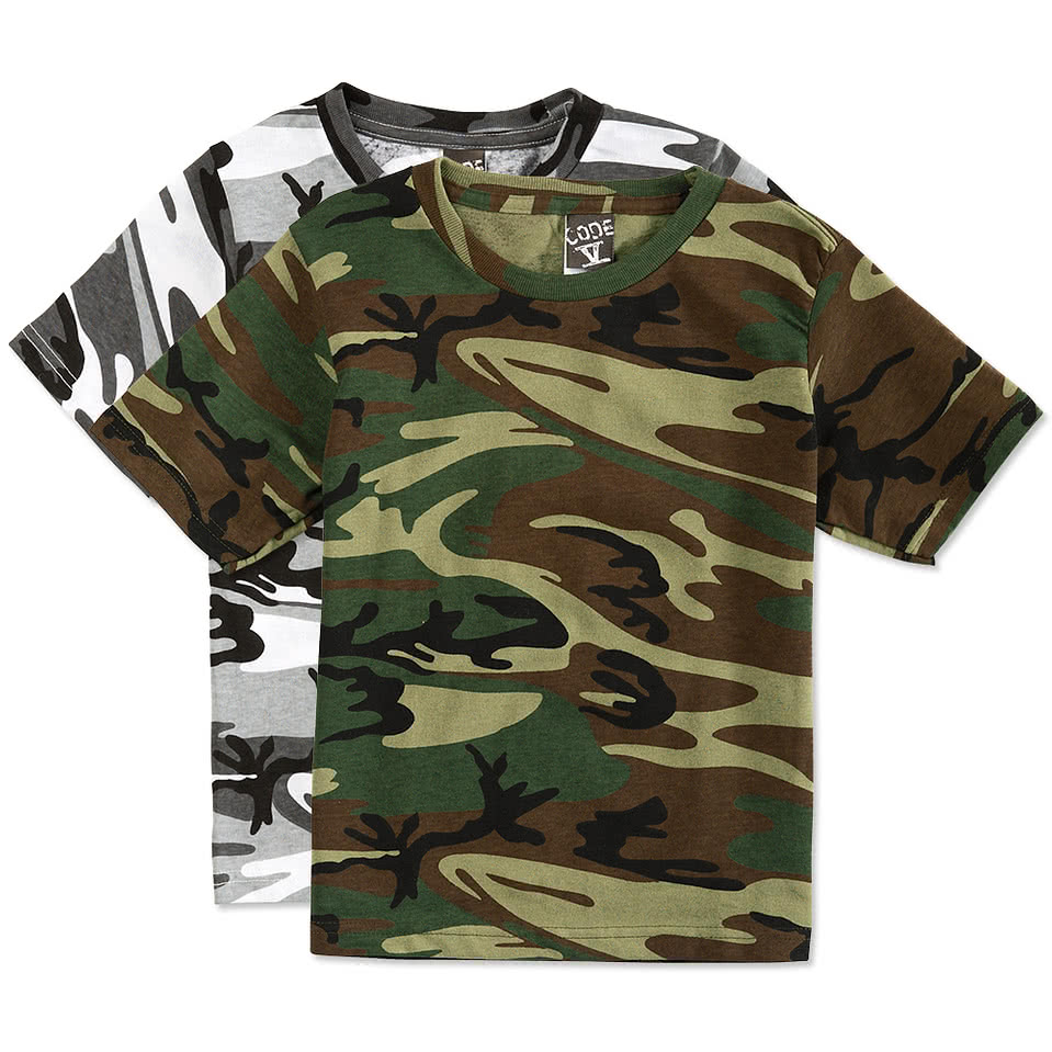 code 5 youth camo t shirt design custom kids camouflage t shirts. Black Bedroom Furniture Sets. Home Design Ideas