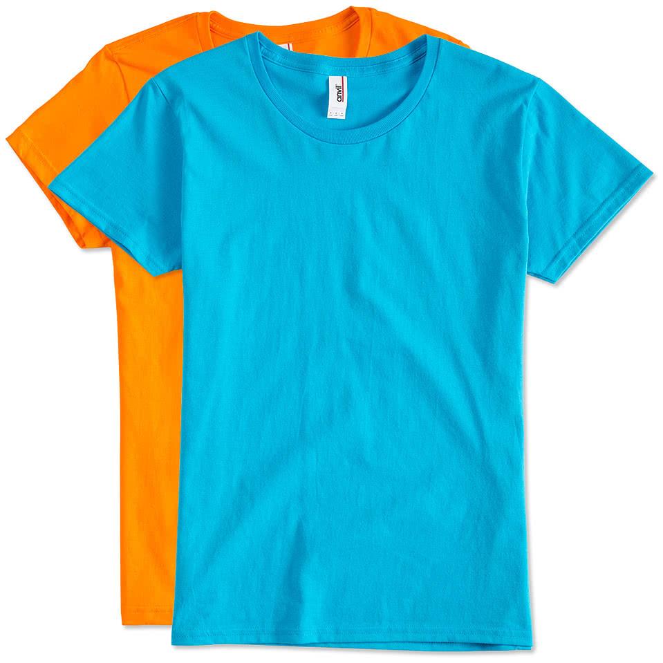 custom anvil ladies jersey t shirt design ladies short