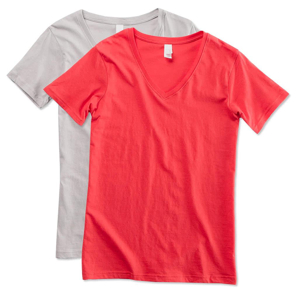 Custom anvil ladies lightweight v neck t shirt design for T shirt design no minimum