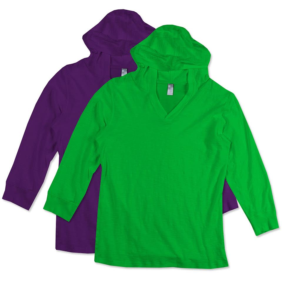 Shirt design on sleeve - J America Ladies 3 4 Sleeve Hooded T Shirt
