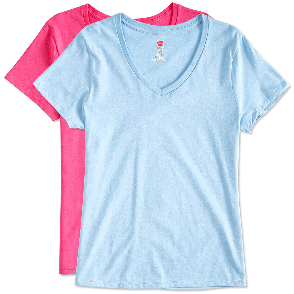 Custom hanes ladies v neck nano t design ladies short for T shirt design v neck