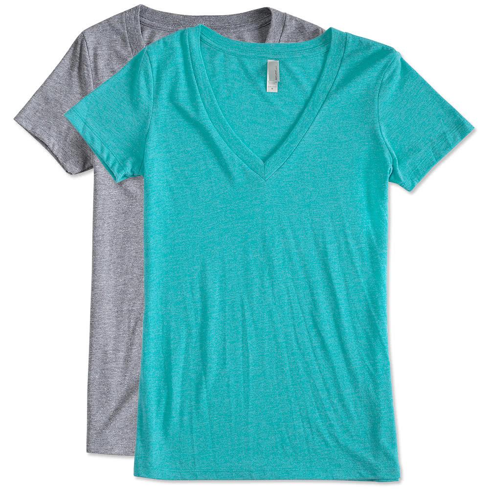 Custom Next Level Juniors Tri Blend Deep V Neck T Shirt