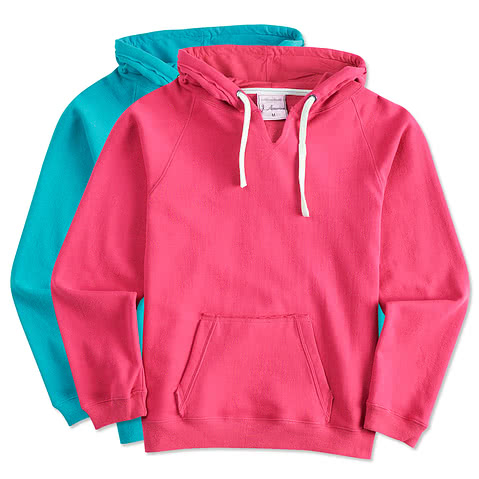 J. America Ladies V-Neck Hooded Sweatshirt