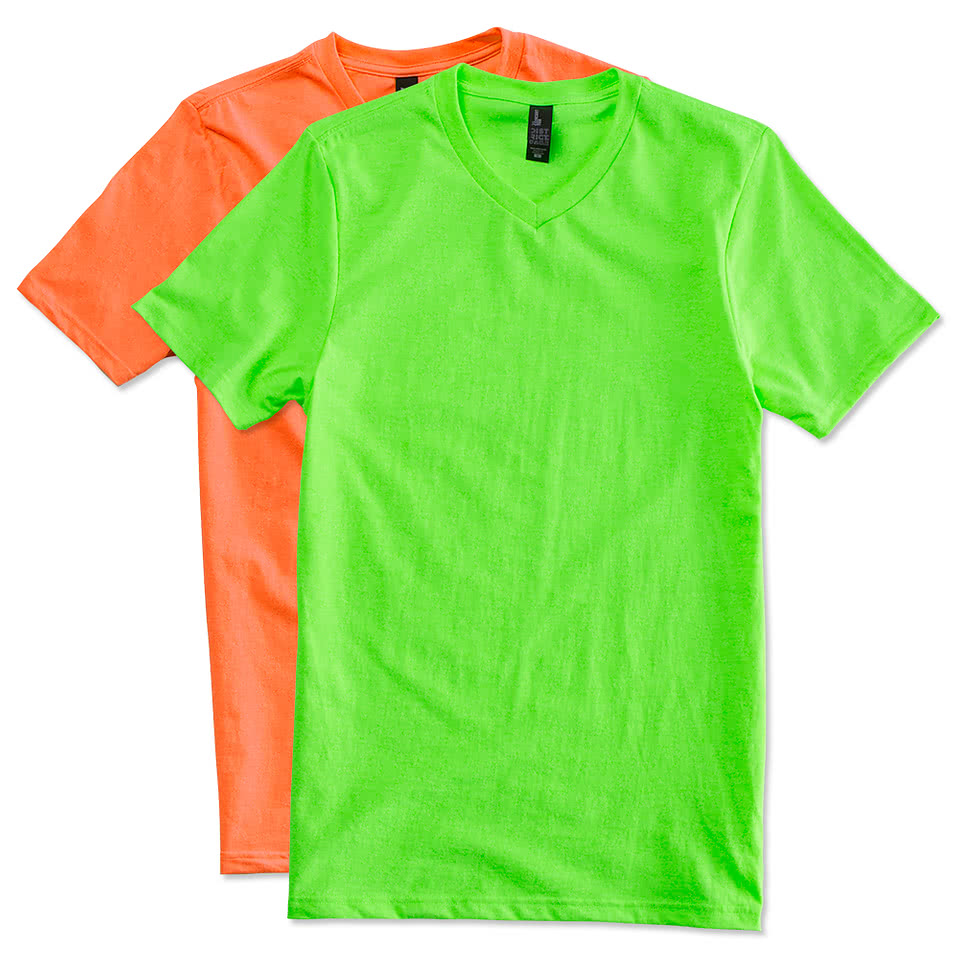 Custom district neon v neck t shirt design short sleeve for T shirts online custom