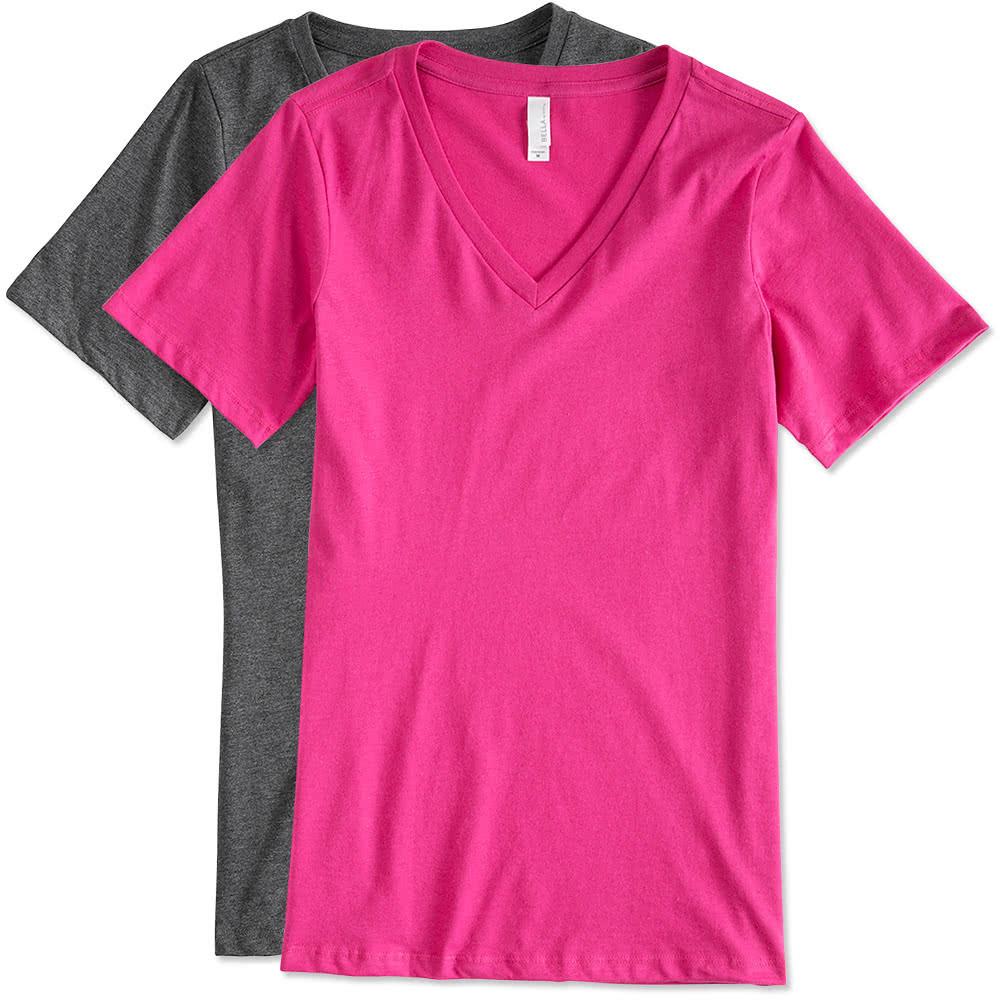 Custom canada bella ladies v neck t shirt design for Custom t shirts canada no minimum