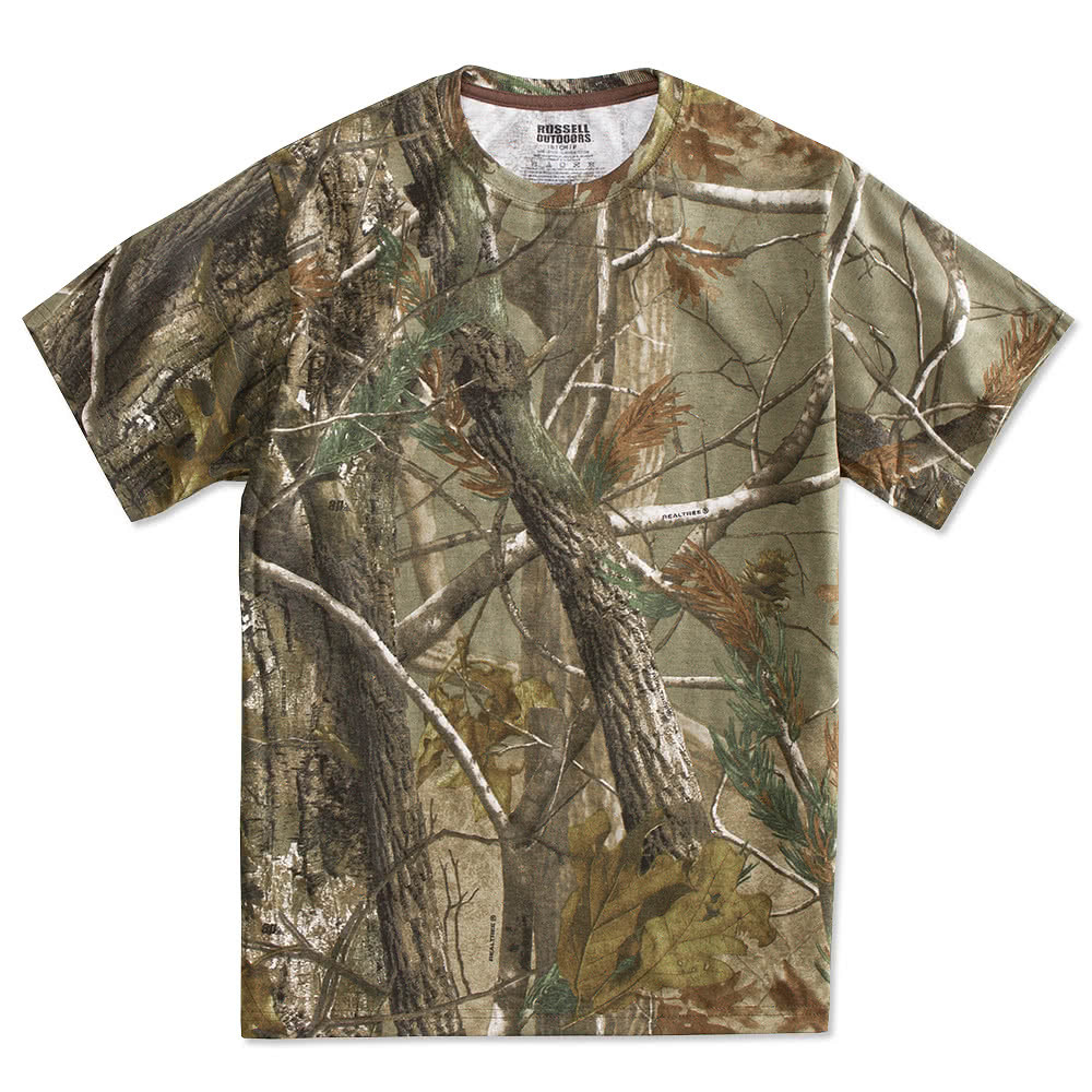 Custom russell outdoors realtree camo t shirt design for Camouflage t shirt design