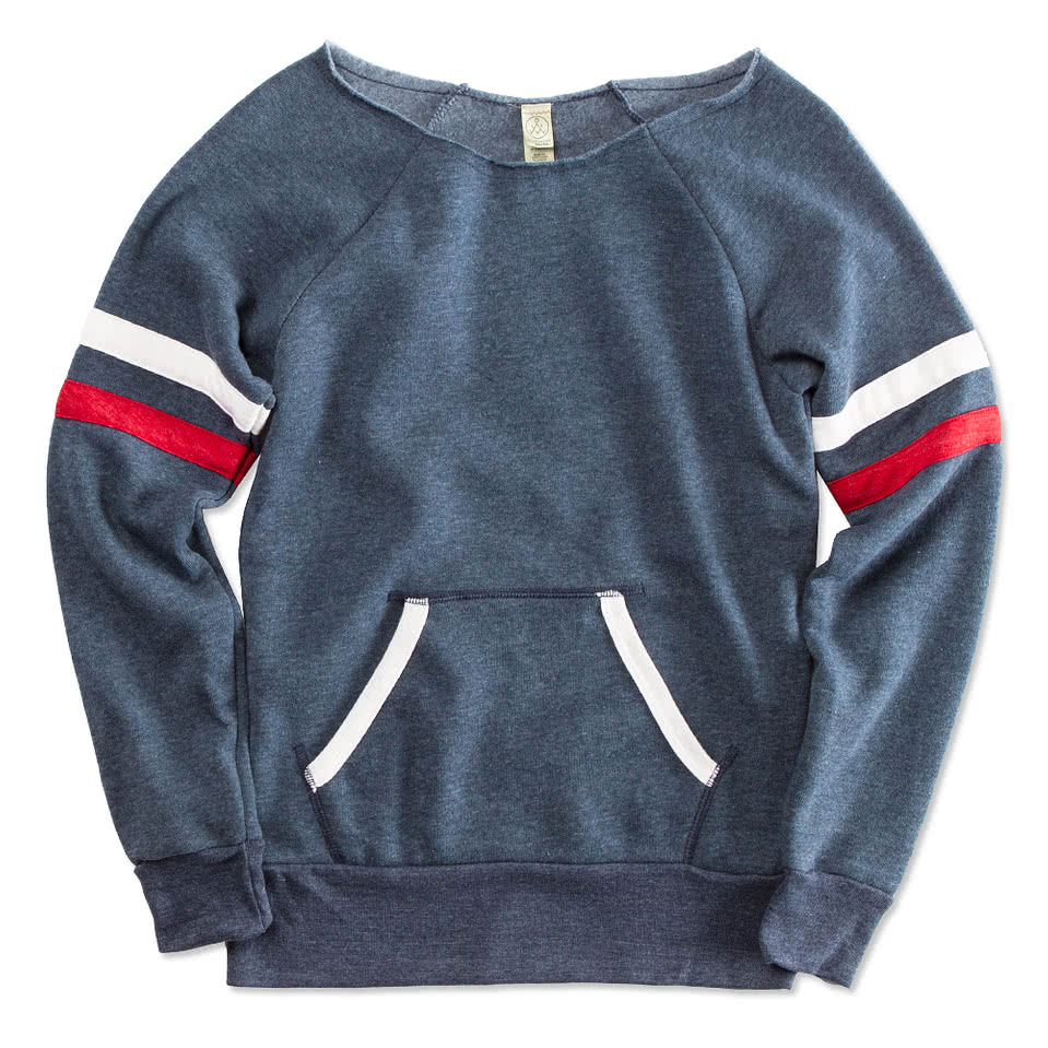 Alternative Apparel Juniors Tri-Blend Wideneck Sweatshirt