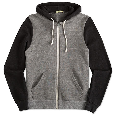 Alternative Apparel Tri-Blend Raglan Zip Hoodie