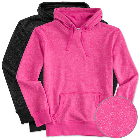 J. America Ladies Glitter Hooded Sweatshirt