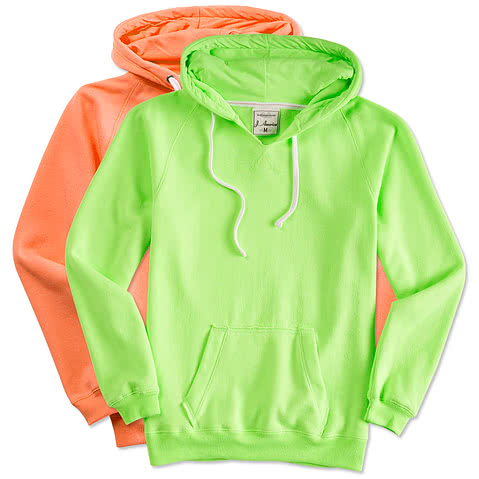 J. America Ladies Neon V-Neck Hooded Sweatshirt
