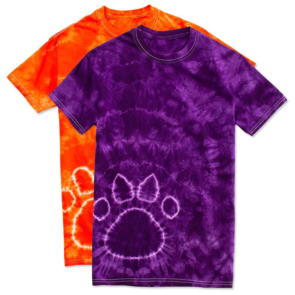Custom Gildan Paw Print Tie Dye T Shirt Design Short