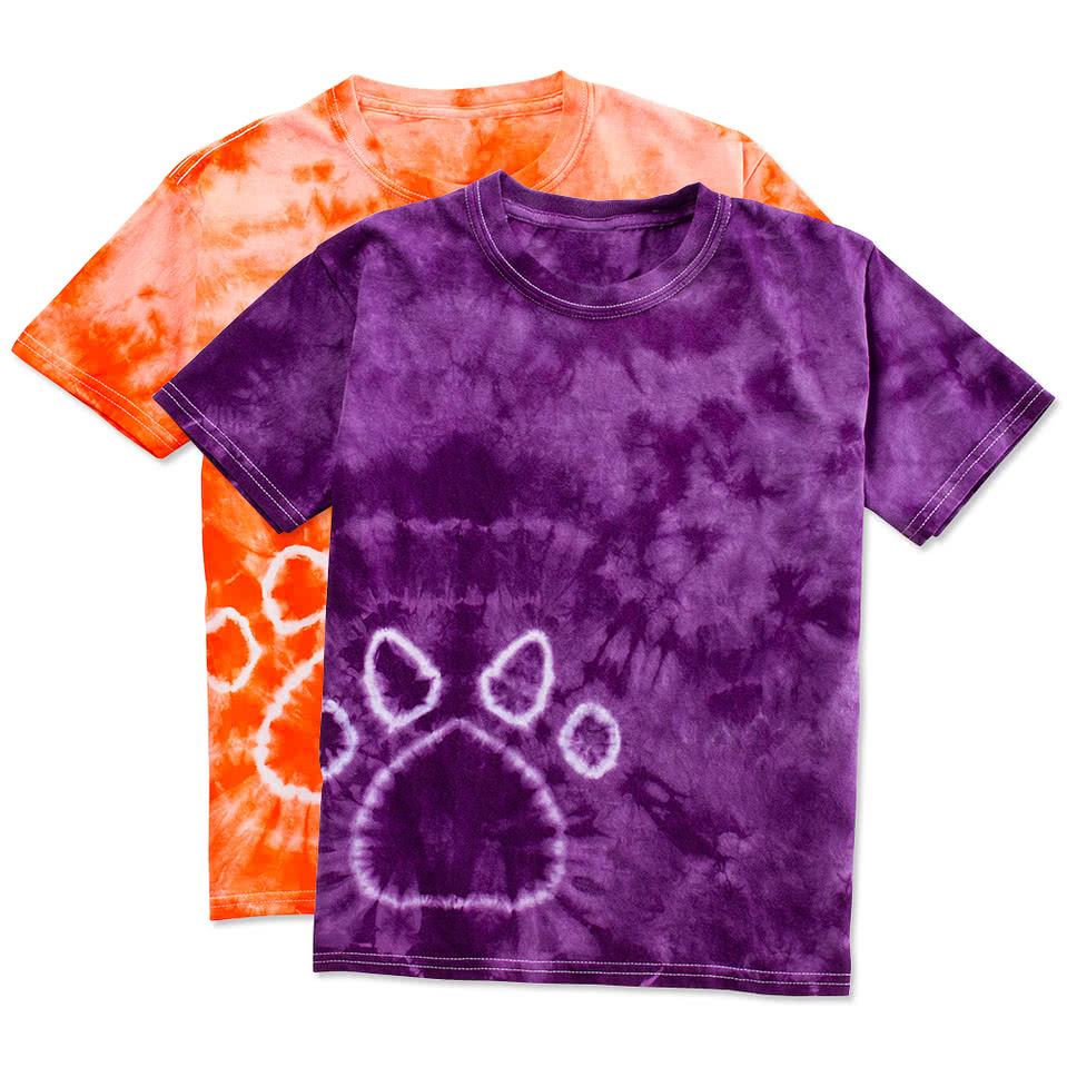 Custom dyenomite youth paw print tie dye t shirt design for Custom tie dye t shirts