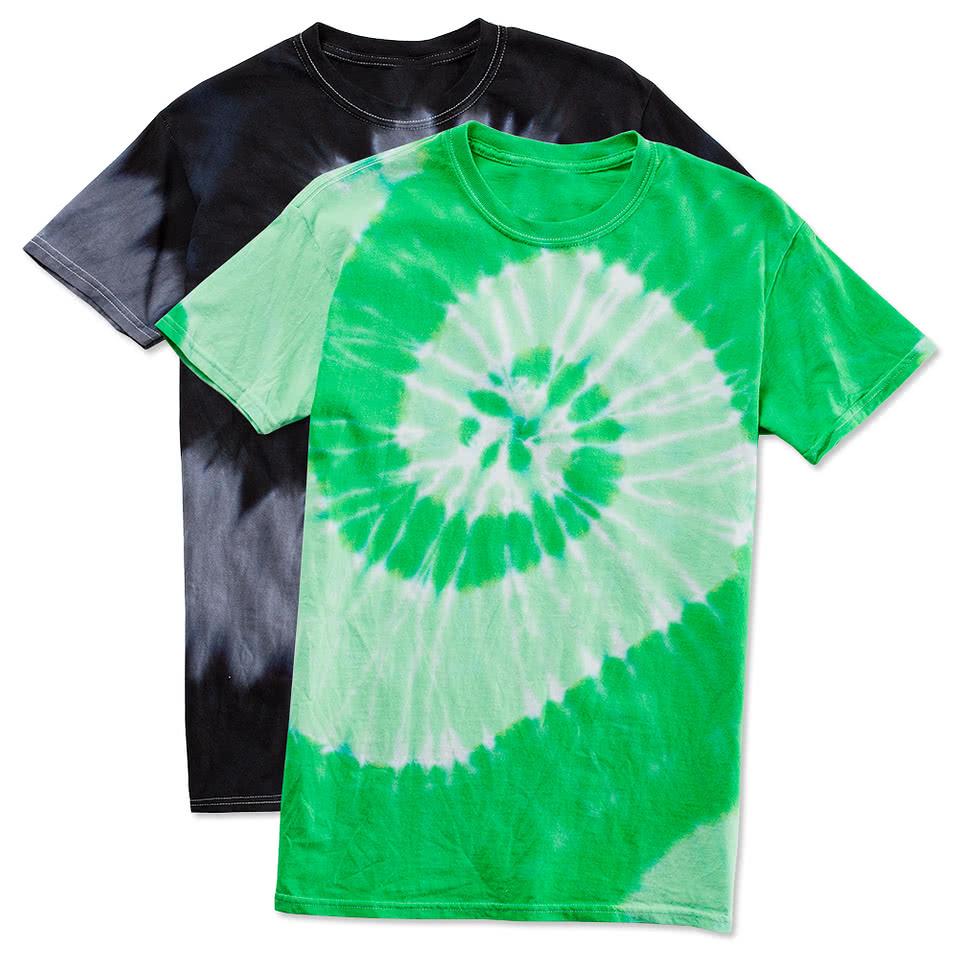Custom dyenomite 100 cotton two tone spiral tie dye t for Custom tie dye t shirts