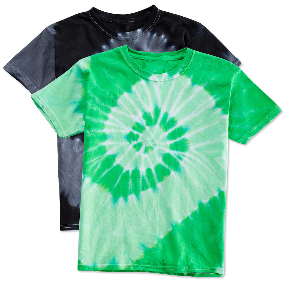 Design your own t-shirt for toddlers - Dyenomite Youth 100 Cotton Two Tone Spiral Tie Dye T Shirt