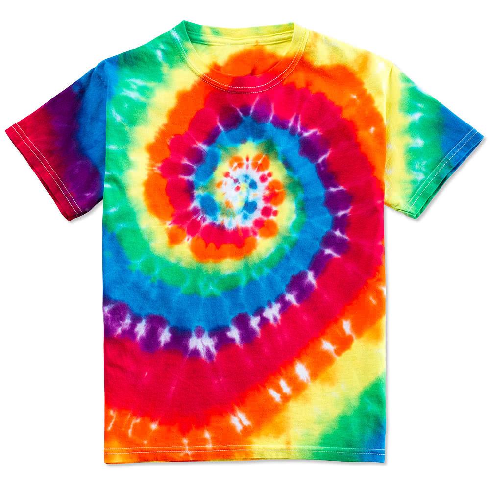 Custom gildan youth 100 cotton rainbow tie dye t shirt for Custom tie dye t shirts