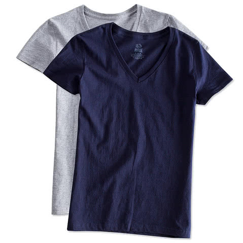 Fruit of the Loom Womens 100% Cotton V-Neck T-shirt