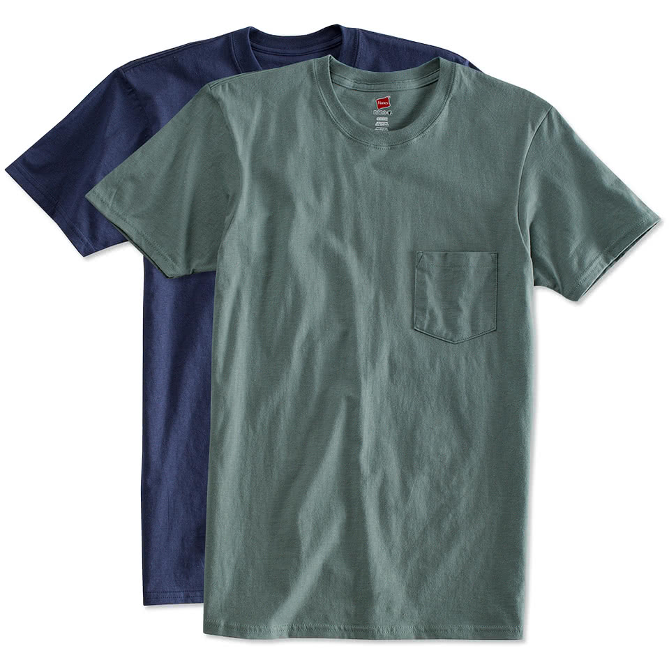 Custom hanes pocket nano t design short sleeve t shirts for T shirts online custom