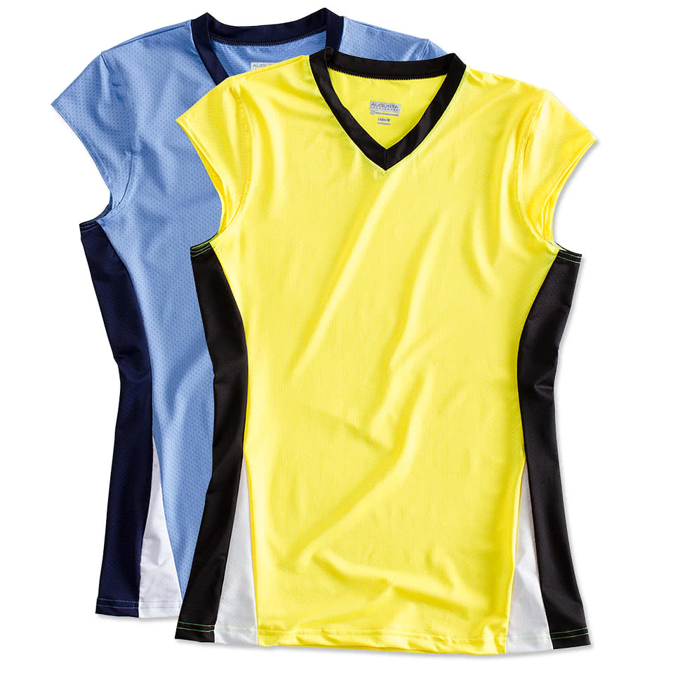 T shirt design volleyball - Augusta Juniors Colorblock Mesh Volleyball Shirt