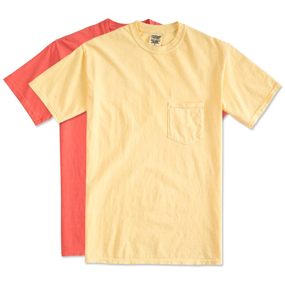 Custom comfort colors 100 cotton pocket t shirt design for Single order custom t shirts