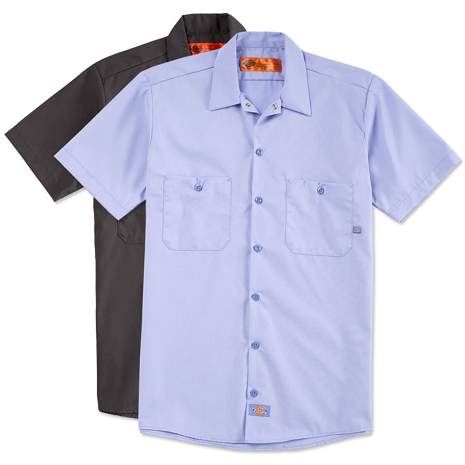 Custom dickies lightweight industrial work shirt design for Work polo shirts with logo