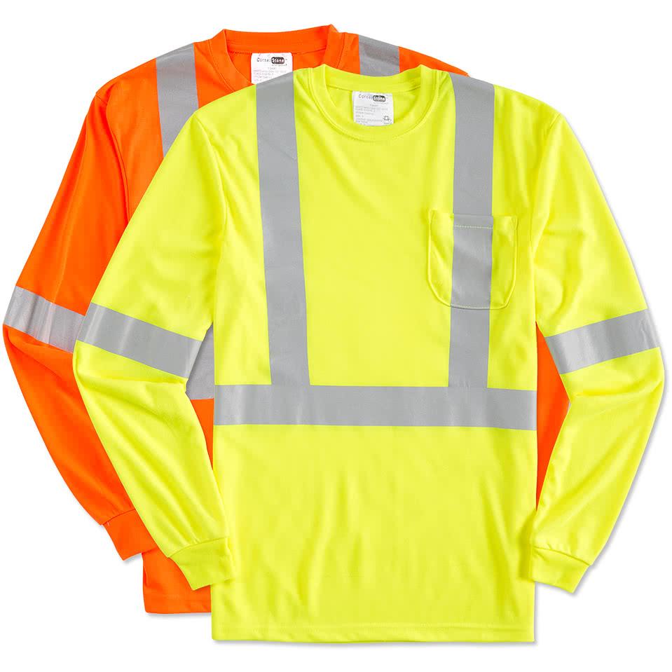 Safety Yellow Shirts >> Custom Cornerstone Class 2 Long Sleeve Performance Safety Pocket