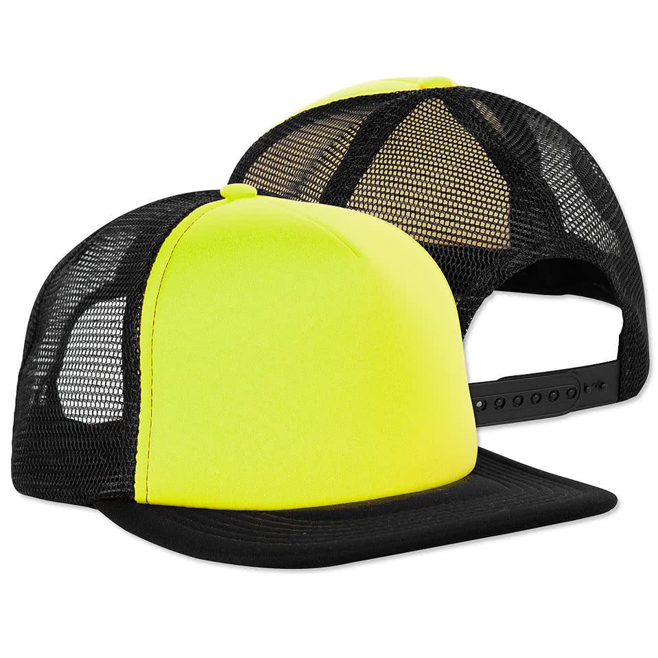 custom district neon flat bill snapback hat design trucker hats