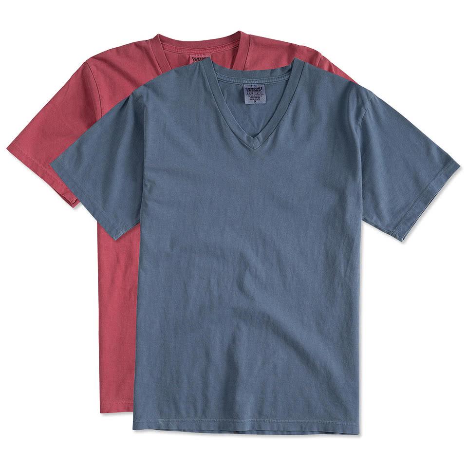 custom comfort colors 100 cotton v neck t shirt design