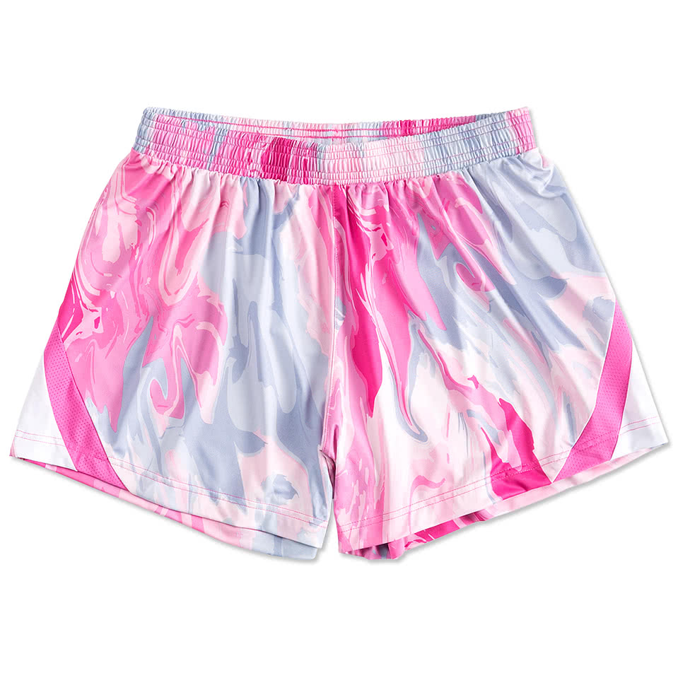 Custom Team 365 Ladies Pink Swirl Performance Shorts - Design ...