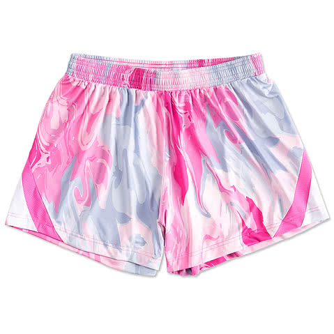 Team 365 Ladies Pink Swirl Performance Shorts