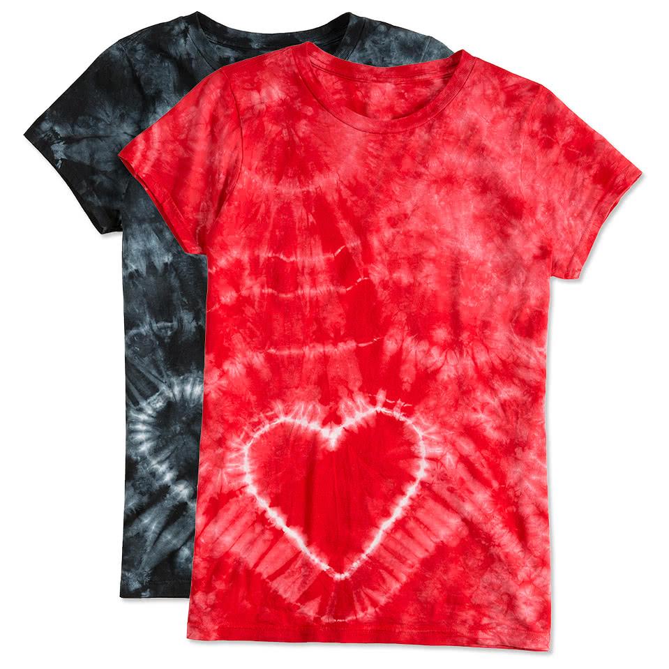Custom dyenomite juniors heart tie dye t shirt design for Custom tie dye t shirts
