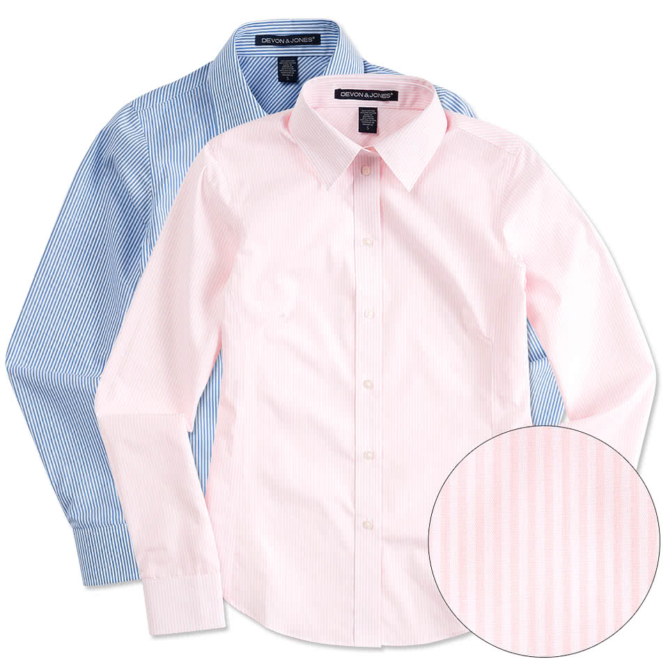 Shirt design ladies - Devon Jones Ladies Banker Stripe Dress Shirt