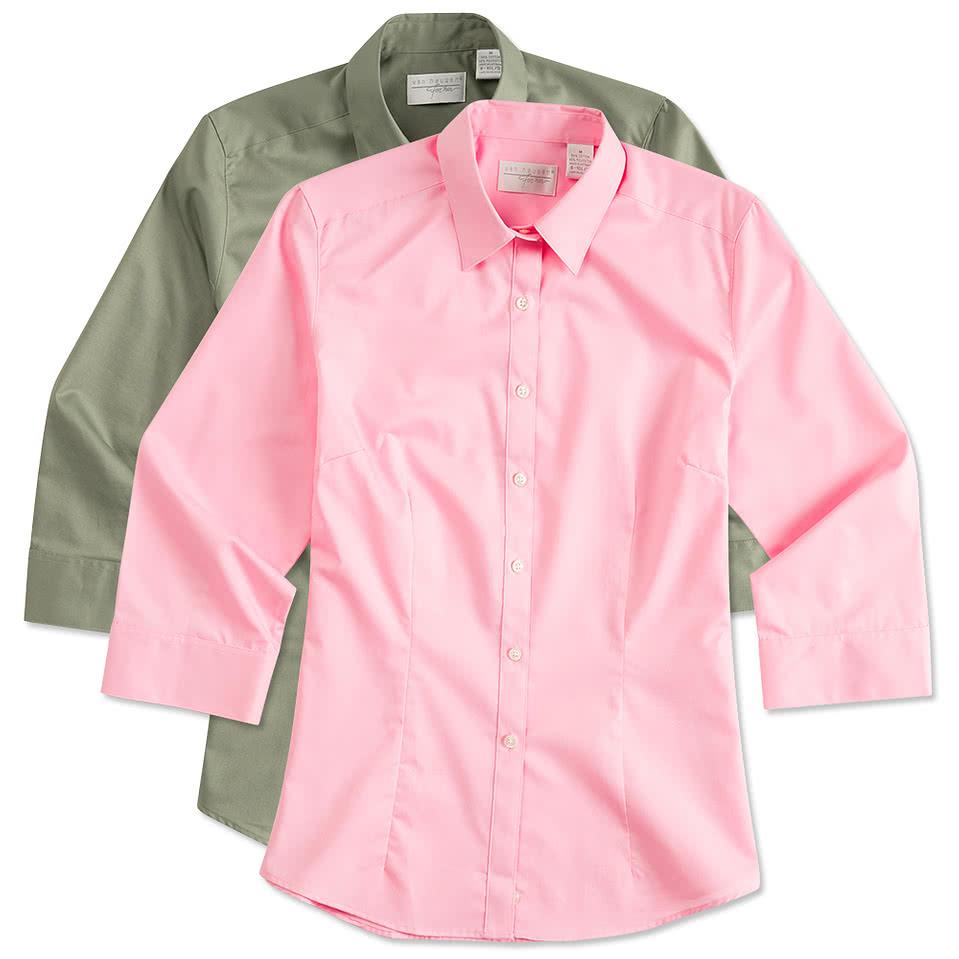 Custom van heusen ladies 3 4 sleeve baby twill dress shirt for Shirt styles for ladies
